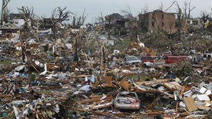 Damage from the tornado in Joplin, USA, in May of this year