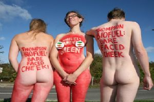 Naked Activists Expose the Bare Faced Cheek of Aviation Biofuels