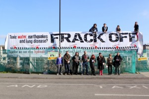 Brightoners unveil huge anti-fracking banner at city station