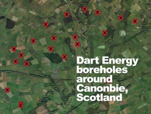 Dart Energy boreholes around Canonbie, Scotland