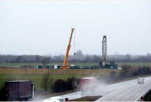 Drill rig alongside the A180 at Kiln Lane, DN41 8BP