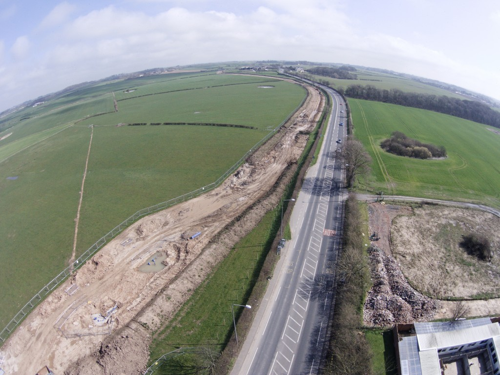 The view from Preston New Road of pipeline works towards Little Plumpton.