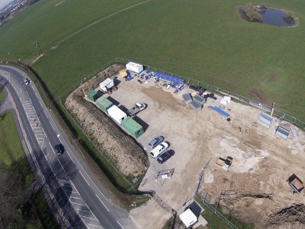 Fenced site with 24 hour security for Preston New Road pipeline work.