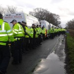 Massive numbers of English & Welsh Police assist Bailiffs with the eviction of Upton Community Protection Camp at Duttons Lane, Chester