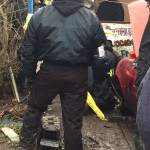 Bailiffs Cutting Off Person Lock-On To Car In Entrance To Upton Camp