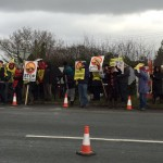 Local Residents Demonstrate On Road Outside Camp Eviction