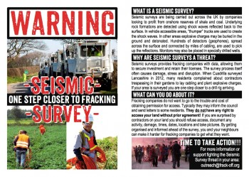 Flyers for raising awareness about Seismic Surveying (Black & White or Colour). Designed to be printed 4 up, double sided, on A4 paper.