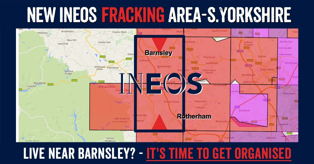North Yorkshire towns in Ineos new fracking licence: Cudworth, Barugh Green, Higham, Barnsley, Dodsworth, Worsbrough, Wombwel, Hood Green, Blacker Hill, Birdwell, Crane Moor, Hemmingfield, Jump, Hermit Hill, Hoyland, Tankersley, Elsecar, Wortley, Howbrook, Wentworth, Hood Hill, Thorpe Hesley, Scholes, Dughtibridge, Worrall, Wadsley Bridge.
