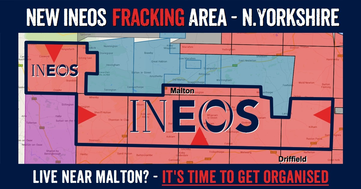 North Yorkshire towns in Ineos new fracking licence: Kilburn, Wass, Ampleforth, Angram Grange, Coxwold, Gilling East, Husthwaite, Oulston, Yearsley, Brandsby, Stearsby, Crayke, Farlington, Sheriff Hutton, Bulmer, Stittenham, Wast Lilling, Thornton-le-Clay, Flaxton, Strensall, Claxton, Malton, Norton, Wellburn, Menethorpe, Langton, Eddlethorpe, Kirkham Abbey, Kennythorpe, Westow, Crambe, Barton Hill, Burythorpe, Barton-le-Willows, Howsham, Leavening, Acklam, Harton, Leppington, Bossall, Scrayingham, Settrington, North Grimston, Duggleby, Birdsall, Wharram le Street, Wharram Parcy, Thixendale, Fimber, Helperthorpe, East Lutton, West Lutton, Kirby Grindalythe, Cowlam, Sledmere, Trowthorpe, Rudston, Kilham, Ruston Parva, Harpham, Lowthorpe.