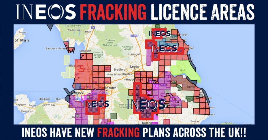Ineos New UK Fracking Licence Areas: Yorkshire, Cheshire & East Midlands