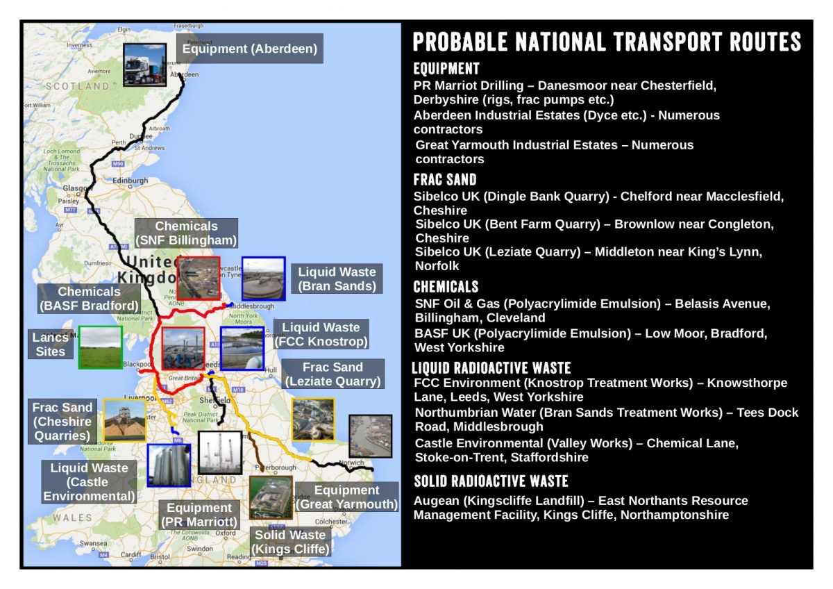 National Transport Routes To Cuadrilla's Appraisal SItes In Lancashire (click to enlarge)