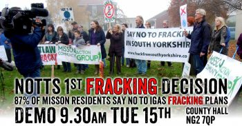 Nottinghamshire Fracking Decision Resumes Tomorrow - Support Springs Road, Misson